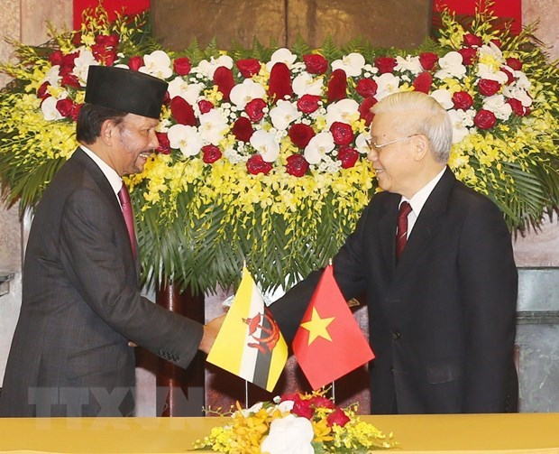 Vietnam-Brunei : entretien entre Nguyen Phu Trong et Haji Hassanal Bolkiah hinh anh 1