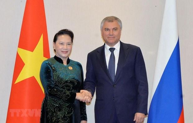 Entrevue entre la presidente de l'AN du Vietnam et le president de la Douma d'Etat de Russie hinh anh 1