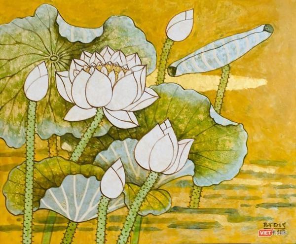 Exposition de peintures contemporaines sur le lotus hinh anh 1