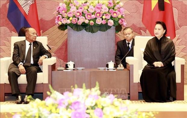 La presidente de l'AN du Vietnam rencontre son homologue cambodgien hinh anh 1