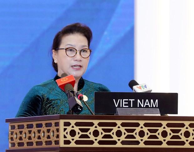 La presidente de l'AN Nguyen Thi Kim Ngan a la seance pleniere de l'UIP-140 hinh anh 1