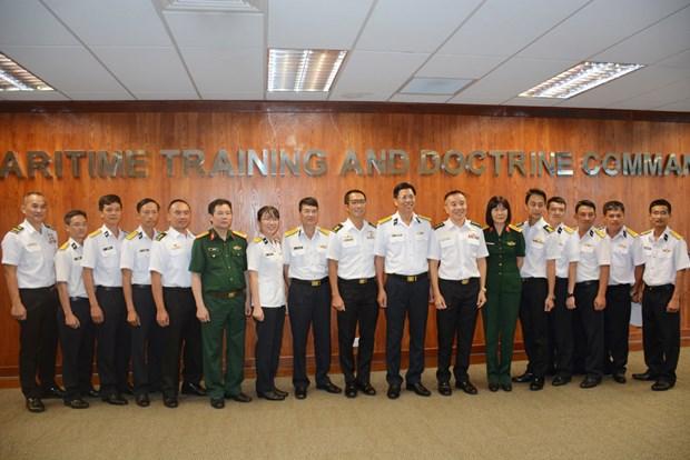Le voilier 286/Le Quy Don echange avec des officiers de la Marine singapourienne hinh anh 1