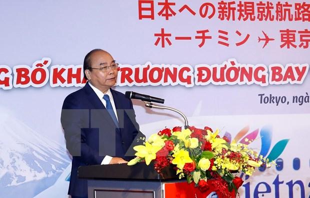 Nguyen Xuan Phuc a la ceremonie de publication de deux nouvelles lignes de Vietjet Air vers le Japon hinh anh 1
