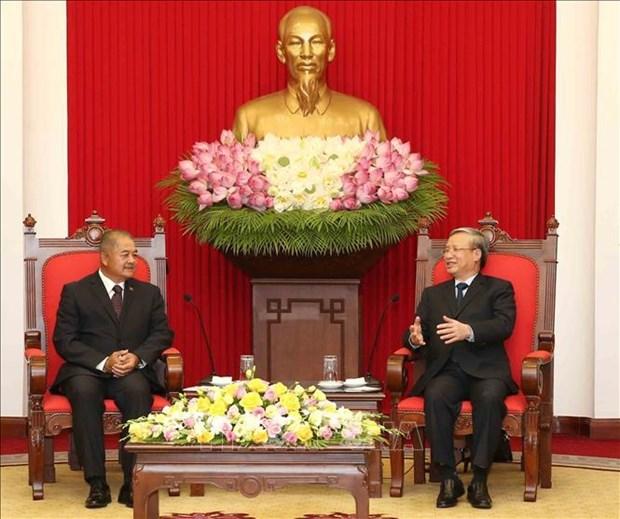 Tran Quoc Vuong recoit une delegation du Parti populaire revolutionnaire du Laos hinh anh 1