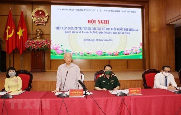 Le secretaire general du Parti Nguyen Phu Trong rencontre des electeurs a Hanoi hinh anh 1