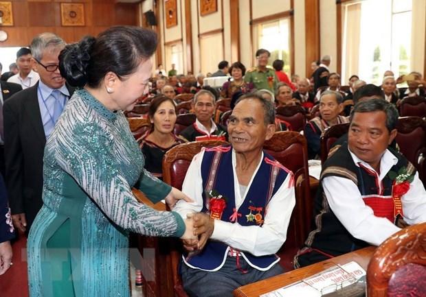 Tay Nguyen : les patriarches appeles a continuer a œuvrer pour le developpement local et national hinh anh 1