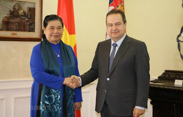 La vice-presidente de l'AN Tong Thi Phong rencontre le vice-PM serbe Ivica Dacic hinh anh 1