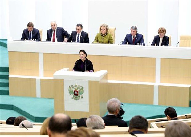 La presidente de l'AN assiste a une seance pleniere de la Chambre haute russe hinh anh 1