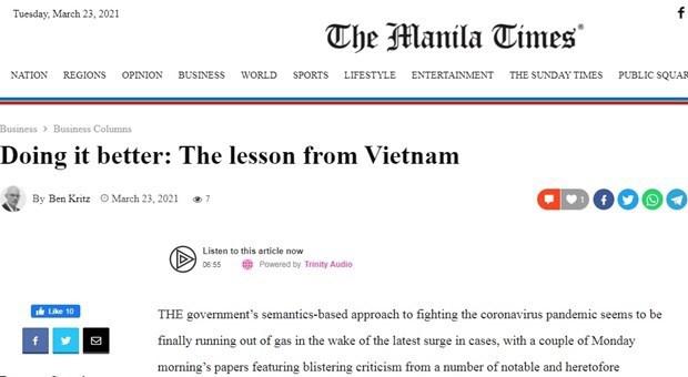 """Un site philippin apprecie la """"formule"""" anti-COVID-19 du Vietnam hinh anh 1"""