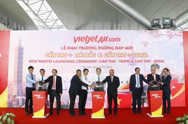 Vietjet Air lance de nouvelles routes reliant Can Tho a Taiwan et a la Republique de Coree hinh anh 1