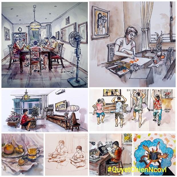 COVID-19 : les dessinateurs d'Urban Sketchers rejoignent la lutte hinh anh 1