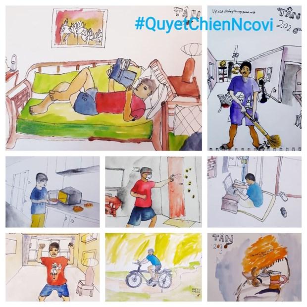 COVID-19 : les dessinateurs d'Urban Sketchers rejoignent la lutte hinh anh 2