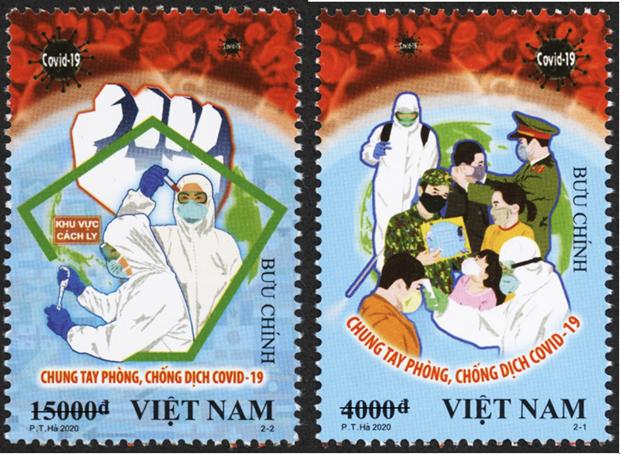 Emission de timbres sur le theme «Unir les forces dans la lutte contre le COVID-19» hinh anh 1
