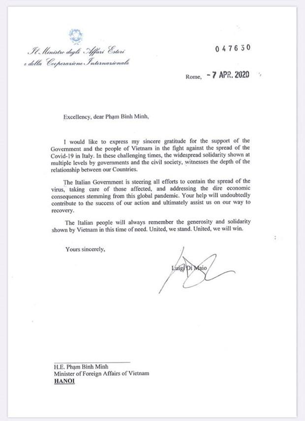 L'Italie remercie le Vietnam pour son assistance dans la lutte contre le COVID-19 hinh anh 1