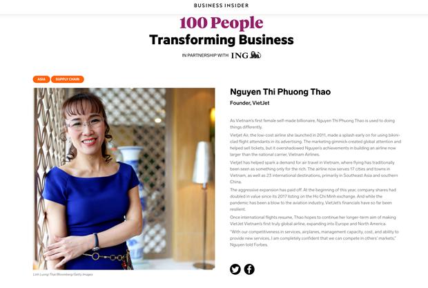 La PDG de Vietjet nommee parmi les 100 personnes qui transforment les affaires en Asie hinh anh 1