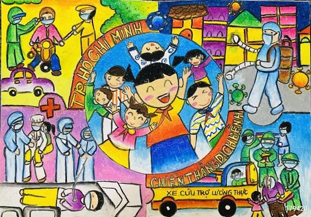 """70.000 peintures d'enfants """"Croire au Vietnam"""" contribuent au Fonds de vaccins anti-COVID-19 hinh anh 1"""