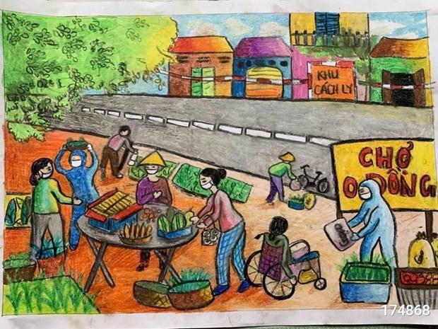 """70.000 peintures d'enfants """"Croire au Vietnam"""" contribuent au Fonds de vaccins anti-COVID-19 hinh anh 2"""