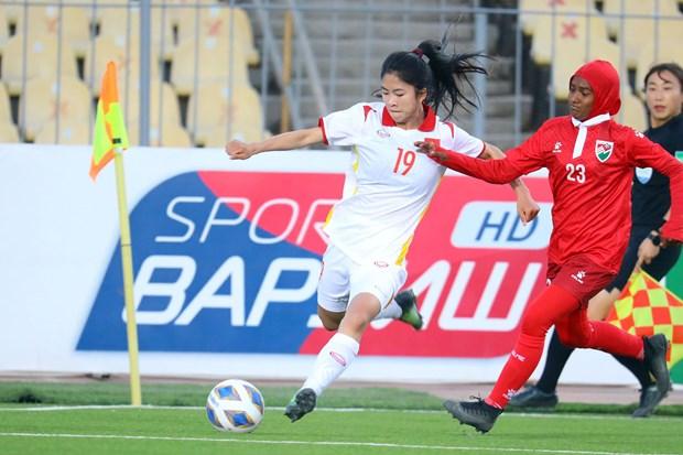 Eliminatoires de la Coupe d'Asie feminine 2022: large victoire du Vietnam contre les Maldives hinh anh 1