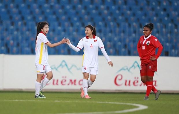 Eliminatoires de la Coupe d'Asie feminine 2022: large victoire du Vietnam contre les Maldives hinh anh 2