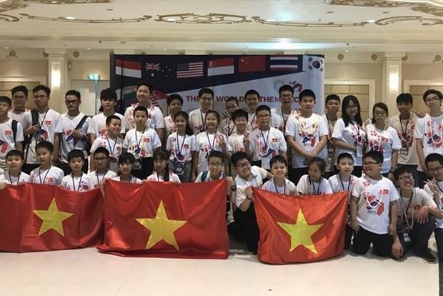 Les eleves de Hanoi brillent au Championnat du monde de mathematiques par equipe 2018 hinh anh 1