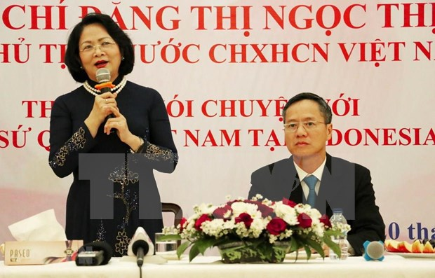 La vice-presidente Dang Thi Ngoc Thinh exhorte a intensifier les relations Vietnam-Indonesie hinh anh 1