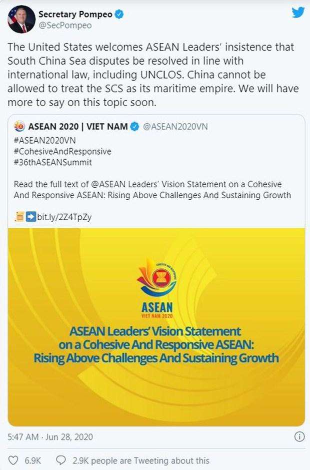 Les Etats-Unis apprecient la declaration du 36e Sommet de l'ASEAN hinh anh 1