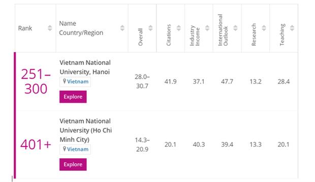 THE: deux universites vietnamiennes dans le classement des meilleures jeunes universites 2021 hinh anh 1