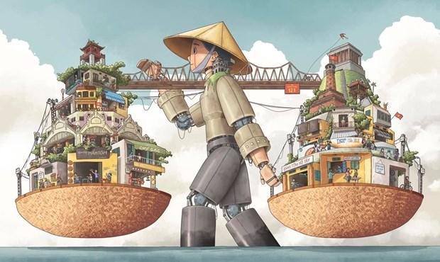 Resultats du concours d'illustration de la ville creative de Hanoi hinh anh 1