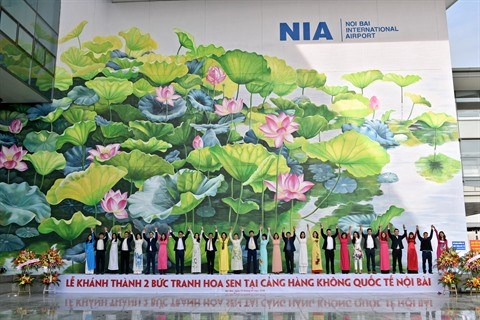 Inauguration de deux fresques de lotus a Hanoi hinh anh 1