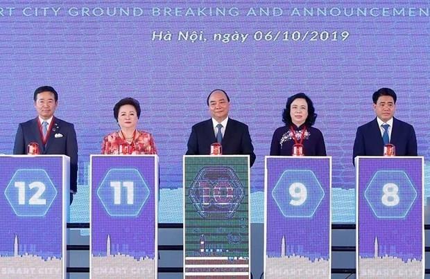 Ceremonie d'inauguration des travaux du premier projet de ville intelligente a Hanoi hinh anh 1