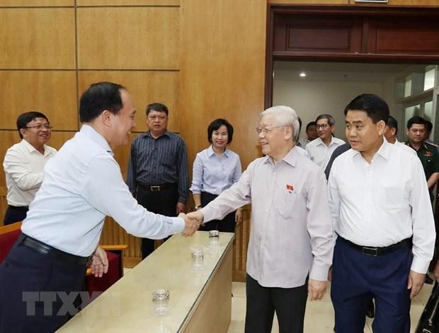 Le secretaire general et president Nguyen Phu Trong a la rencontre des electeurs de Hanoi hinh anh 1