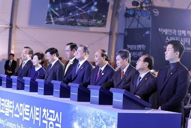 Le Premier ministre assiste a la ceremonie de mise en chantier de la ville intelligente a Busan hinh anh 1