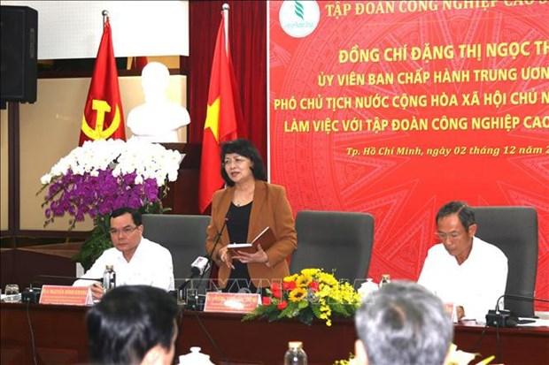 Dang Thi Ngoc Thinh rencontre la direction du groupe du caoutchouc du Vietnam hinh anh 1