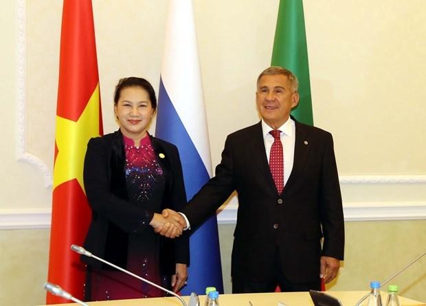 Entrevue entre la presidente de l'AN vietnamienne et le president du Tatarstan hinh anh 1
