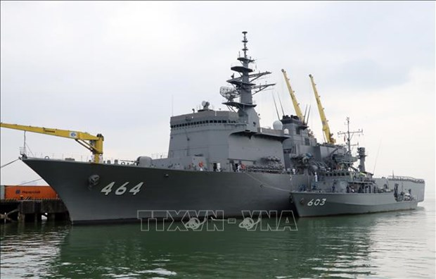 Deux navires de la Force maritime d'autodefense japonaise en visite a Da Nang hinh anh 1