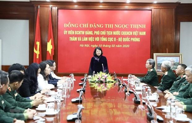 La vice-presidente Dang Thi Ngoc Thinh travaille avec le Departement N° 2 du ministere de la Defense hinh anh 1
