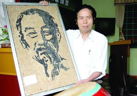 Un portrait de l'Oncle Ho en graines de haricots et du riz hinh anh 1
