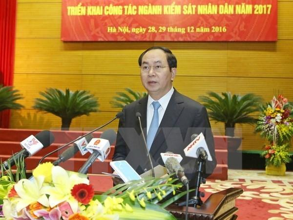 Le chef de l'Etat a la conference du secteur des parquets populaires hinh anh 1