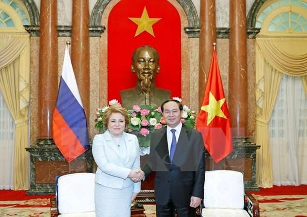 Le president Tran Dai Quang recoit la presidente du Conseil de la Federation de Russie hinh anh 1