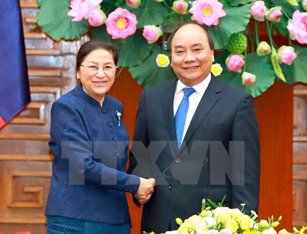 Le PM Nguyen Xuan Phuc recoit la presidente de l'AN du Laos Pany Yathotou hinh anh 1