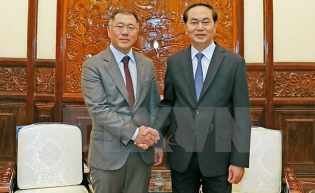 Le president Tran Dai Quang exhorte Hyundai Motor a investir davantage au Vietnam hinh anh 1