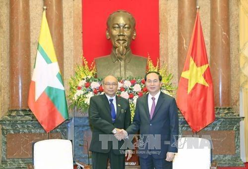 Le president Tran Dai Quang exhorte a dynamiser les liens Vietnam-Myanmar hinh anh 1