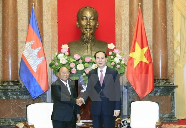 Le president Tran Dai Quang recoit le president de l'AN cambodgienne hinh anh 1