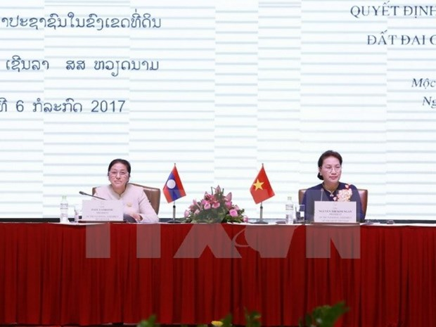 Le Vietnam et le Laos s'echangent sur la decision et la surveillance foncieres hinh anh 1