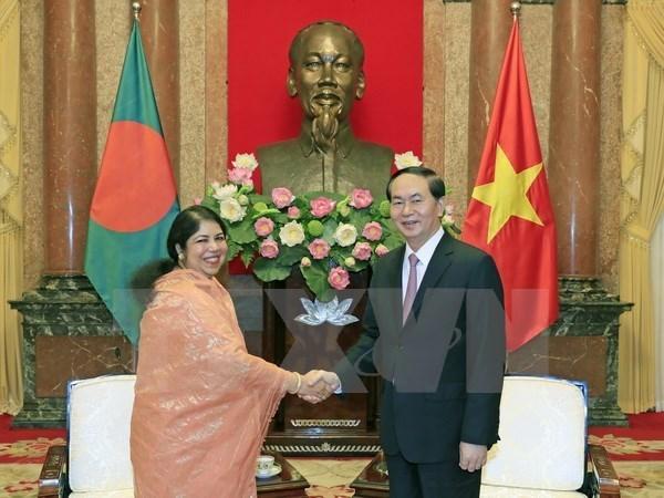 Le chef de l'Etat vietnamien recoit la presidente du Parlement du Bangladesh hinh anh 1