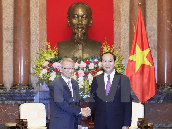 Le president Tran Dai Quang recoit le president de la Cour supreme sud-coreenne hinh anh 1