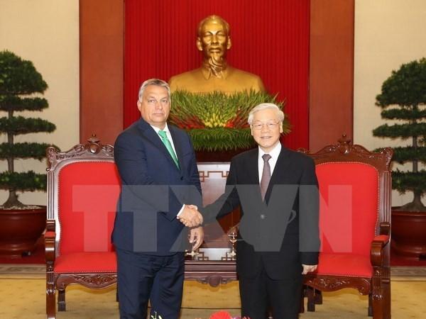 Des dirigeants vietnamiens recoivent le Premier ministre hongrois hinh anh 1
