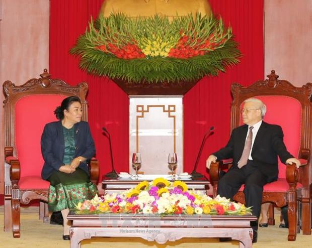 Le secretaire general du PCV Nguyen Phu Trong recoit une delegation du PPRL hinh anh 1