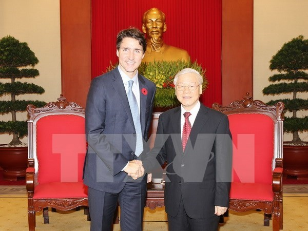 Le SG Nguyen Phu Trong recoit le PM canadien Justin Trudeau hinh anh 1
