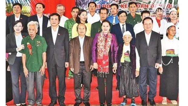 La presidente de l'AN a la Fete de grande union nationale a Hoa Binh hinh anh 1